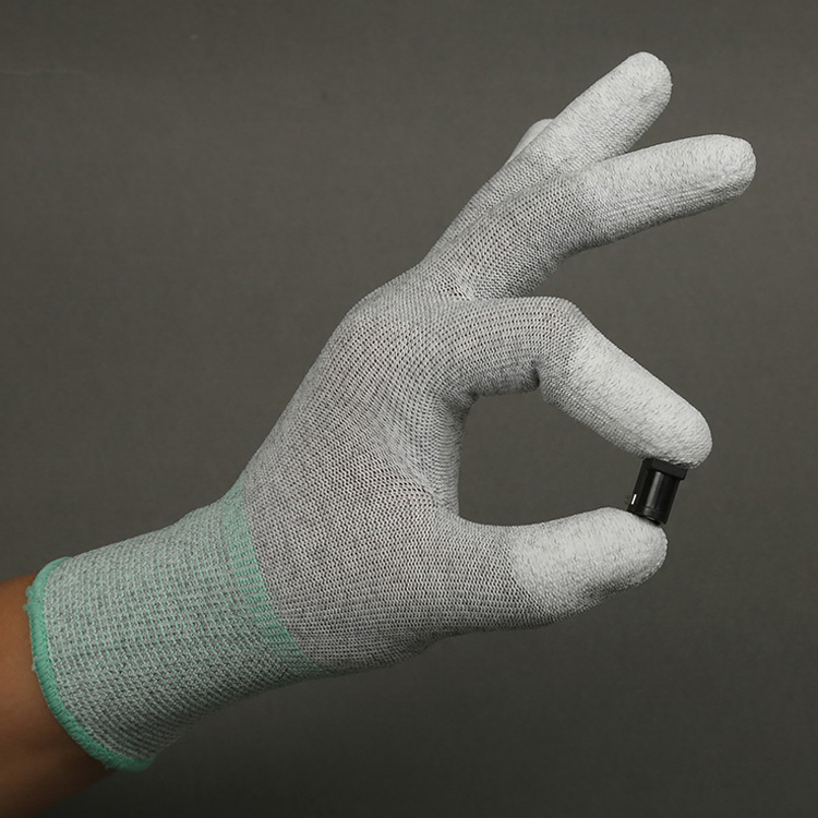 Pu Coated Working Gloves Esd Carbon Fiber Top Fit Glove Electrical Safety Gloves