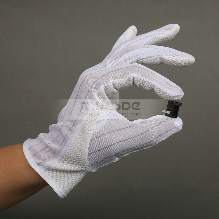 PVC Dotted ESD Gloves Cleanroom Protective Antistatic Gloves