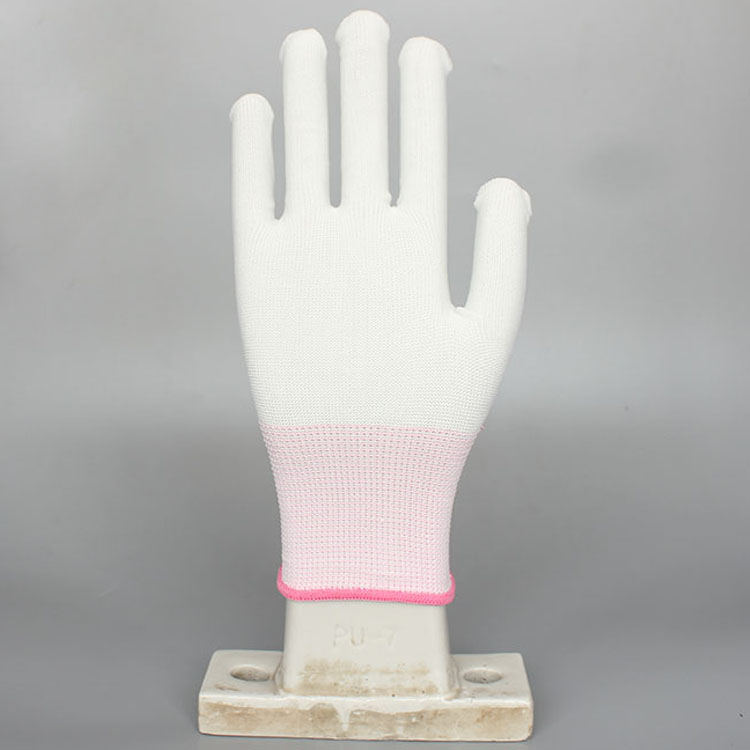 Polyester Esd Pu white anti-static working safety gloves