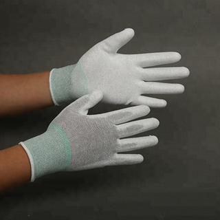 PU Finger Coated Nylon knitted Cleanroom Gloves Protective Hand Gloves