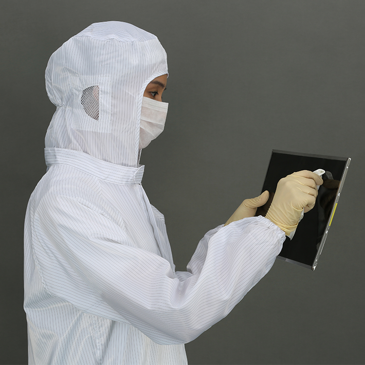 Hot Selling Polyester Filaments And Conductive Fibers Cleanroom Suit