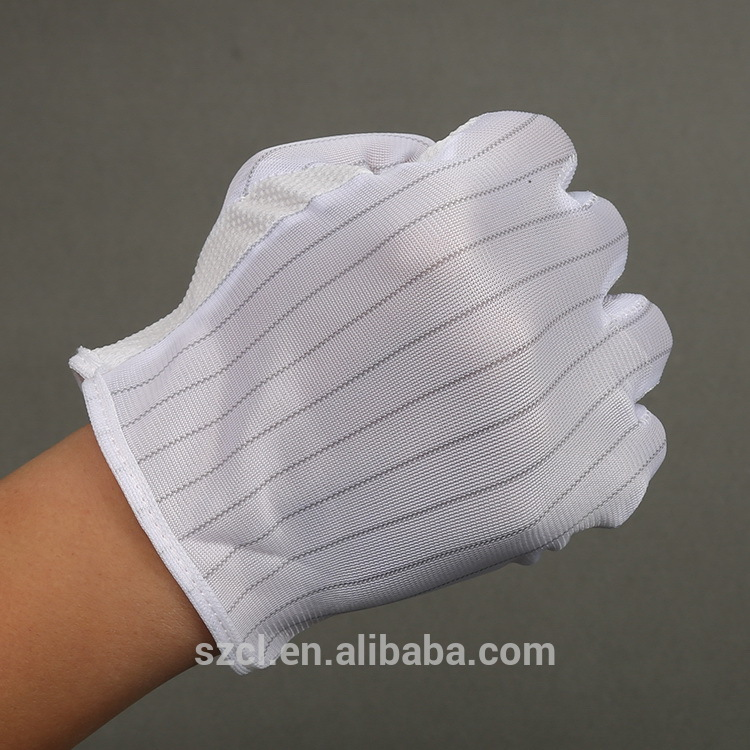 Anti-slip PVC dotted protective cleanroom antistatic ESD Gloves
