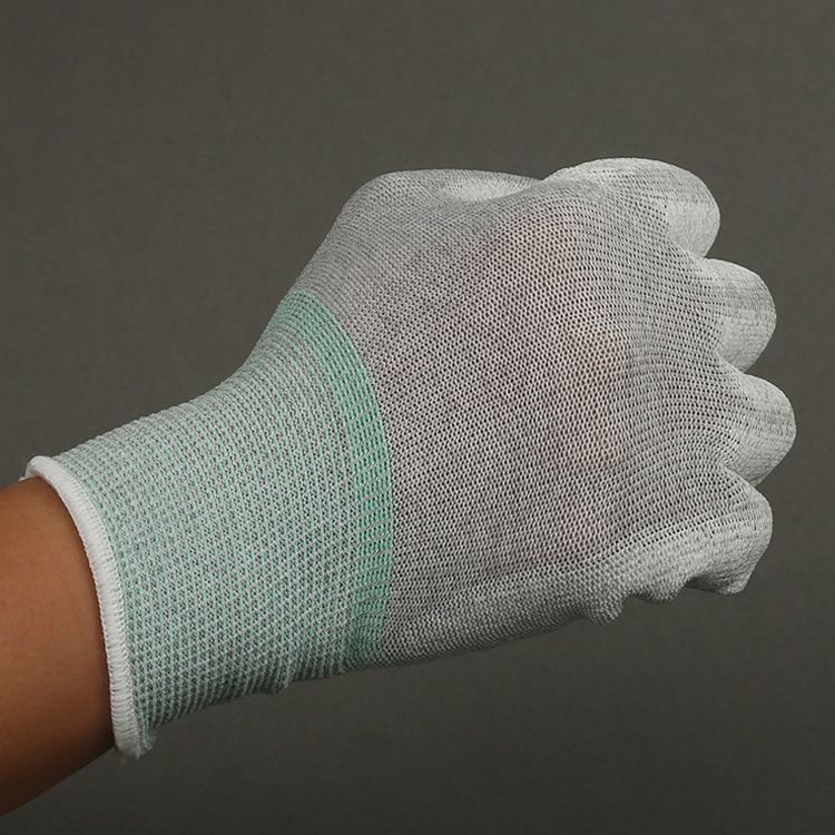 Antistatic PU Plam Coating Glove Carbon Fiber ESD pu top fitted gloves
