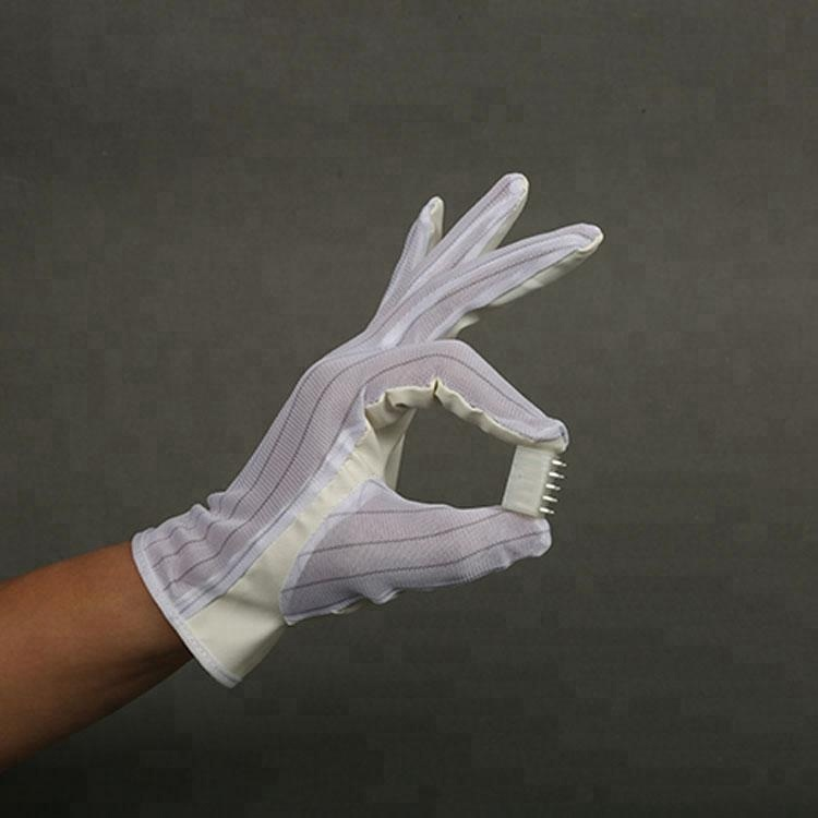 2019 Hot Sale White Polyester Lint Free Esd Gloves Esd Working Gloves