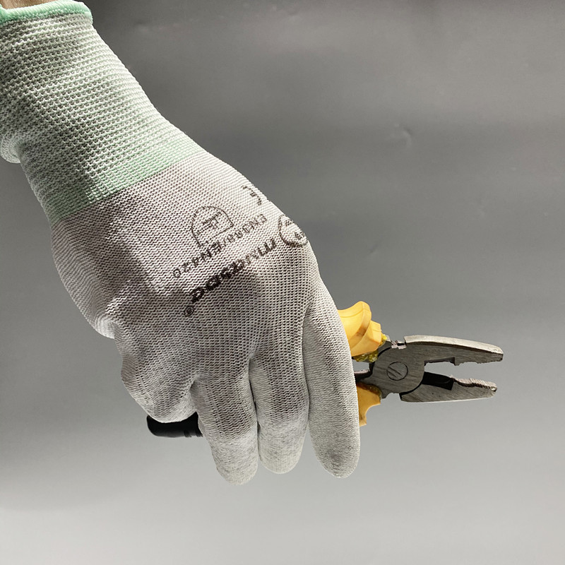 Antistatic PU Plam Coating Glove Carbon Fiber ESD pu palm gloves with logo